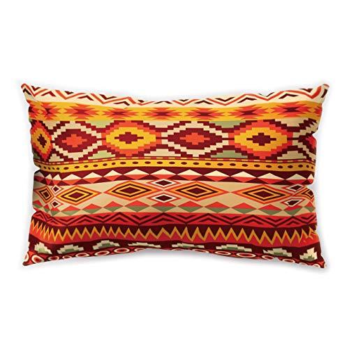Hengjiang, federa per cuscino rettangolare in stile etnico africano, con stampa geometrica su entrambi i lati, 30 cm x 50 cm, Poliestere, 15, about 50*30cm