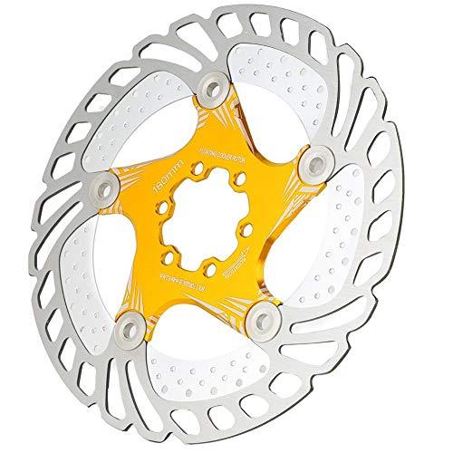 Alomejor Rotore del Disco di Freno per Bici 180mm 6 Bulloni Rotori della Bicicletta Adatti per Mountain Bike MTB BMX(Oro)