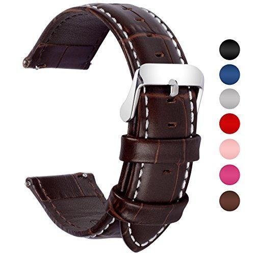 Fullmosa 7 Colori per Cinturini di Ricambio, Bambu Pelle Cinturino/Cinturini/Braccialetto/Band/Strap di Ricambio/Sostituzione per Watch/Orologio 18mm 20mm 22mm 24mm, Marrone Scuro 20mm