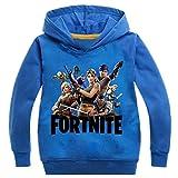 ZIGJOY Fortnite Gaming Gamer Sudadera con Capucha cómoda de algodón para niños Azul 6-7 Años