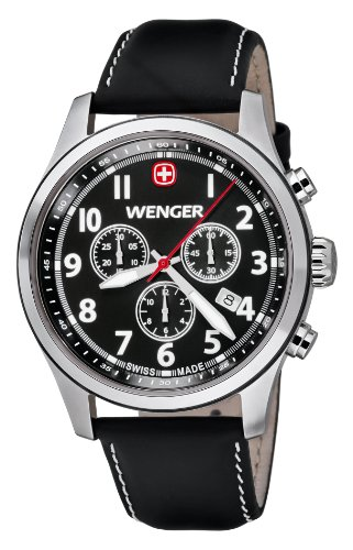 Wenger Herren-Armbanduhr XL Terragraph Chronograph Quarz Leder 01.5431.101