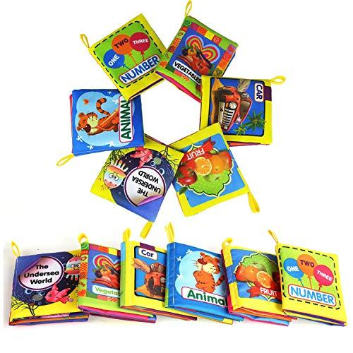 LEADSTAR Bambino Cognition Libro, 6 Pezzi Libri in Tessuto Morbido per Bambino Neonati, Intelligence...