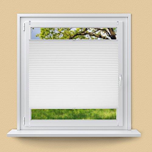 ECD Germany Plissee 80 x 100 cm - Weiß - Klemmfix - EasyFix - ohne Bohren - für Sonnen- und Sichtschutz - für Fenster und Tür - inkl. Befestigungsmaterial - Jalousie Faltrollo Fensterrollo Rollo