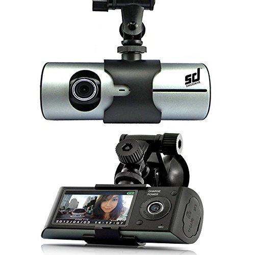 Smiledrive Dual Lens Car Vehicle Mounted Dash Cam/Camera/Camcorder Black Box DVR with GPS Logger G-sensor Support 32GB Micro TF Card X3000