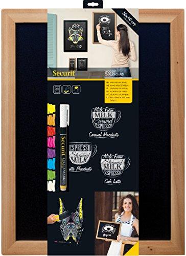 Securit - Lavagna da parete con cornice di legno, scrittura con gesso, 30 x 40 cm, colore: Legno