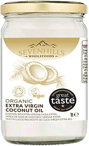 Sevenhills Wholefoods Huile Extra Vierge De Noix De Coco Bio 1L, Pressée à Froid, Pour Cuisine, Peau et Cheveux