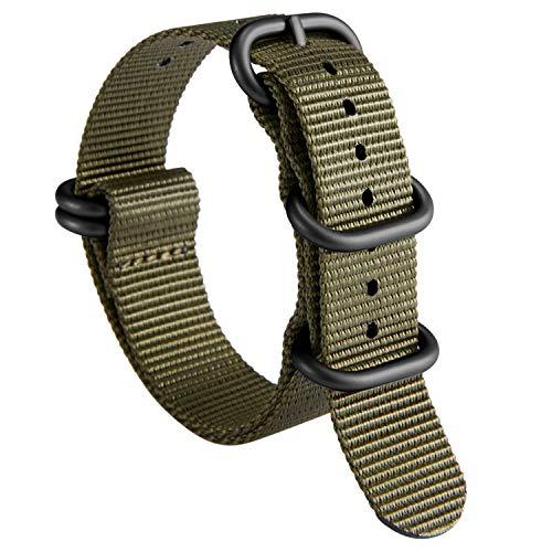 NATO Zulu Watch Strap Thick G10 Premium Ballistic Nylon cinturini per orologi da uomo 18mm 19mm 20mm 21mm 22mm 23mm 24mm con militari Heavy Duty 5 anelli Fibbia in acciaio inox