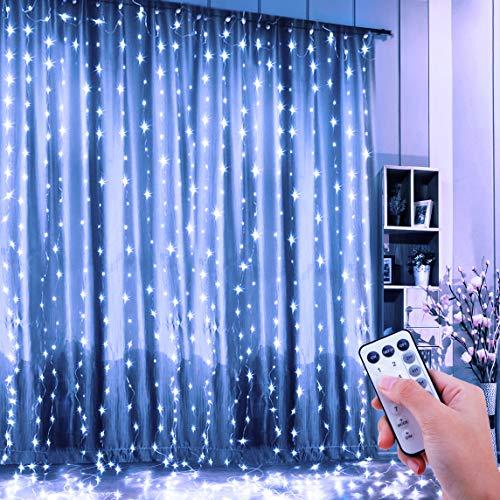 FishOaky Tenda Luminosa, Tenda Luci 300 LED 3mx3m, Catena Luminosa Luci Stringa Filo di Rame...