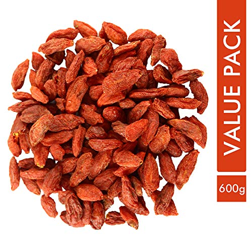 Sorich Organics Naturally Dried Goji Berries - Unsweetened, Unsulphured and Naturally Dehydrated Fruit - Value Pack - 600 Gm