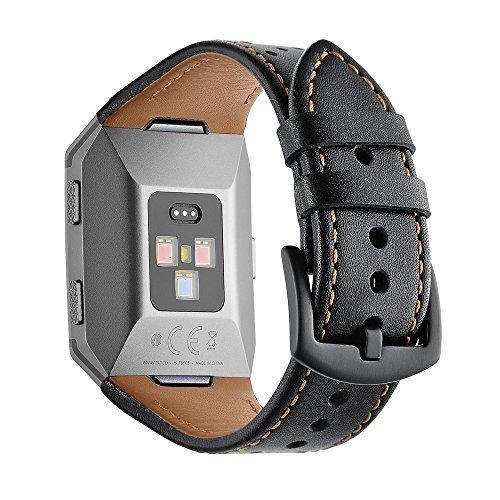 AISPORTS - Cinturino in Pelle Traspirante per Fitbit Ionic, Unisex, Taglia Piccola, Grande, con Fibbia in Metallo Cruz V2 Fresh Foam