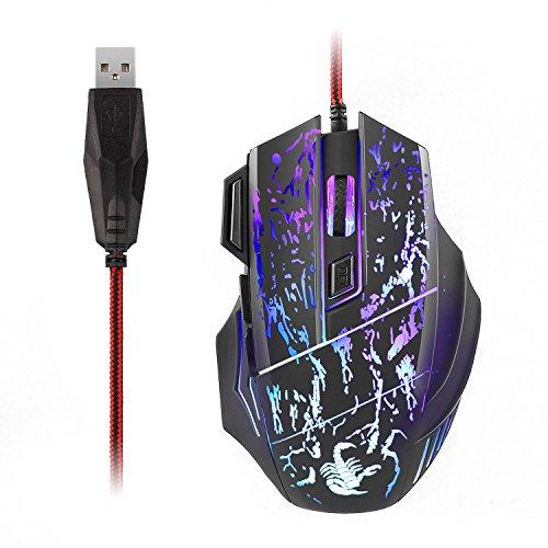 AUKEY Mouse Gaming, Mouse da Gioco USB Ottico con 7 Pulsanti Ergonomico, 3200 DPI e 7 Colori LED per Giocatore Professionale, Nero