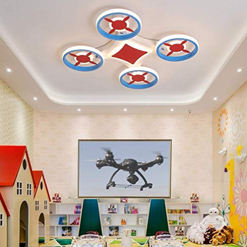 HQFC Plafoniera 36w LED, Moderna Drone Art Design Lampada da soffitto Lampada da Camera da Letto Blu contemporanea Lampada da Camera da Letto Creativa per Bambini 60cm 3000k 6000k