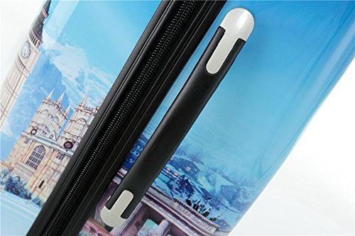 Polycarbonat Hartschale Koffer 2060 Trolley Reisekoffer Reisekofferset Beutycase 3er oder 4er Set in 7 Motiven (Flug(3er Set)) - 5