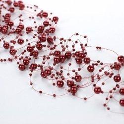 floristikvergleich.de Wadoy Perlengirlanden rot bordeaux weinrot 5 Stück á 1,3m Tischdeko Hochzeit Taufe Weihnachten