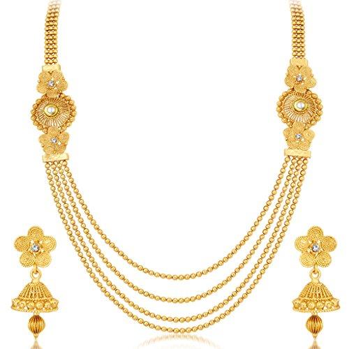 Sukkhi Stylish Jalebi 4 String Gold Plated Necklace Set For Women