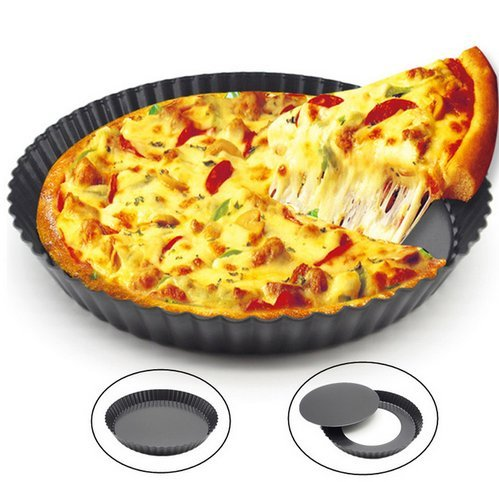 Zollyss 9 Inch Non-Stick Pizza Pan Quiche Pan with Removable Bottom Removable Loose Bottom Quiche Pan Tart Pie Pan