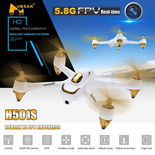 Hubsan H501S X4 Brushless FPV Quadricoptère Drone GPS avec Caméra 1080P HD 5.8Ghz(H501S Blanc) 10