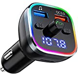FM Transmitter Auto Bluetooth V5.0, OMORC Kfz Radio Transmitter mit 7 Farbe LED Backlit, QC3.0 Dual USB Adapter Unterstützung U Disk/TF-Karte/Bluetooth/Freisprecheinrichtung