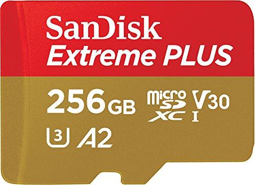 SanDisk Extreme Plus Scheda di Memoria microSDXC da 256 GB e Adattatore SD con App Performance A2 e Rescue Pro Deluxe, fino a 170 MB/sec, Classe 10, UHS-I, U3, V30