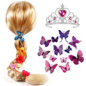 Tacobear Princesa Rapunzel Peluca Trenza con Princesa Corona y Mariposa Broche Princesa Rapunzel Sofia Disfraz…
