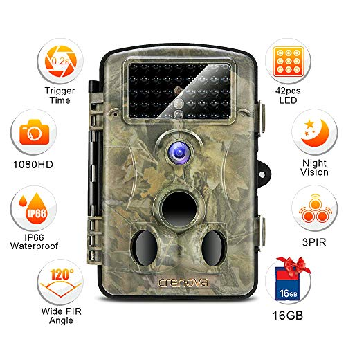 Spotting elusive animals in your backyard can be thrilling with the Crenova RD1000 12MP Infrared Trail Camera. The camera has the capability of taking both quality pictures and 1080 high definition videos. Sound captured by this camera is of quality and carries on seamlessly thought the recording. Experience vivid colours during the day and well contrasted black and white images at night thanks to the 5MP CMOS sensor installed.