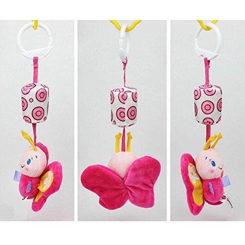 Highdas Cama de música para bebé Colgantes y cunas Decoraciones de Pram Recién nacido Campanas Juguetes de peluche (mariposa)
