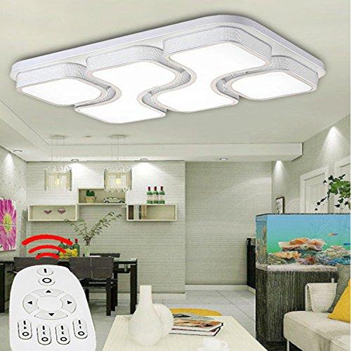 Etime 64W Design LED Deckenlampe Dimmbar Mit Fernbedienung Led Deckenleuchte Wohnzimmer Lampe Schlafzimmer Kche Leuchte 2700 6500K Weiss Rechteck 78x53cm