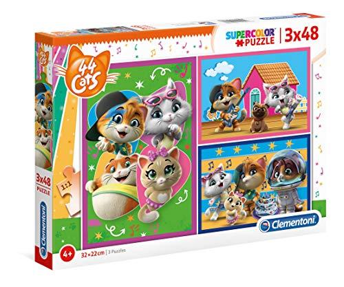 Clementoni- Supercolor Puzzle-44 Gatti-3x48 Pezzi, Multicolore, 25239