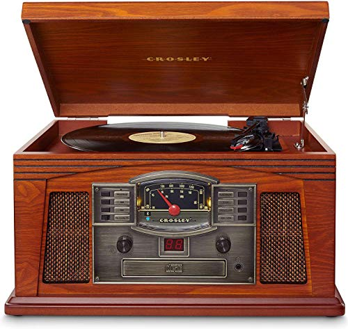 Crosley Cr42D-Pa Lancaster 3-Speed Turntable With Radio, Cd/Cassette Player, Aux-In And Bluetooth, Paprika