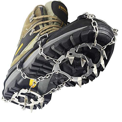 Tolyneil 18 Dientes Garras de Hielo Antideslizante Cubierta de Zapatos Cadena de Acero Inoxidable Esquí al Aire Libre Hielo Nieve Senderismo Escalada