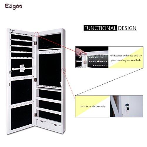 Ezigoo Schmuckschrank Spiegel Türgestell / Spiegel Schmuckschrank hängend mit LED Lichtleiste 110 x 31,5 x 8,5 cm - 4
