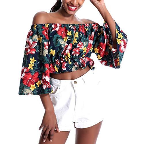 iCerber Camiseta De Verano para Mujer,Top De Manga Corta Acampanada Floral,Camisa De Floral,Mujeres De Moda De La Blusa Tops Camiseta