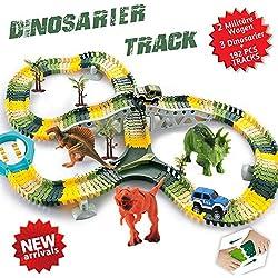 Pista de Carreras Juguetes de Dinosaurios Mundo Jurásico 192 Pistas Flexibles Que Incluyen 3 Dinosaurios 2 Vehículo Militar 4 �rboles 2 Pendientes 1 Plato giratorio en forma de U 1 Barricada tipo Y