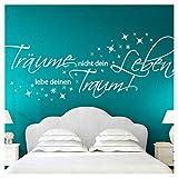 Wandora Wandtattoo Zitat Träume Nicht Dein Leben I schwarz (BxH) 150 x 58 cm I Wohnzimmer Schlafzimmer Sticker Aufkleber Wandaufkleber Wandsticker G026