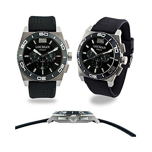 Locman Stealth mare / orologio uomo / quadrante nero / cassa acciaio e titanio / cinturino silicone nero