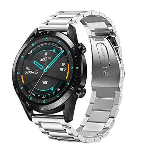 SPGUARD Cinturino Compatibile con Cinturino Huawei Watch GT 2 46mm, Cinturino di Ricambio Regolabile in Acciaio Inossidabile da 22 mm per Huawei GT 2/Huawei Watch GT/Active-Argento