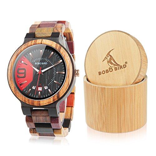 Bobo Bird, orologio da polso da uomo, in legno colorato, analogico, al quarzo, con datario, fatto a...