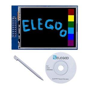 517H4E4QoBL - ELEGOO Pantalla Táctil TFT de 2,8 Pulgadas con Tarjeta SD con Todos Los Datos Técnicos en CD Compatible con Arduino UNO R3 Placa