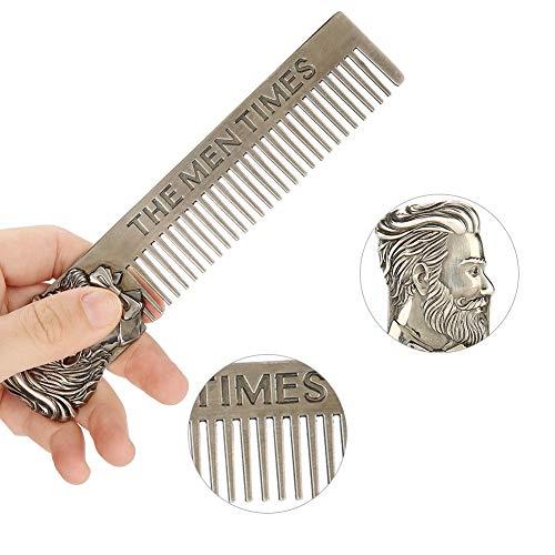 Pettine per Pettinatura e Modellatura per Barba in Acciaio Inossidabile per Uomo