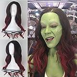 Blue Bird - Parrucca da donna con capelli lunghi e ondulati, scuri con sfumature rosso vino, ispirati a Gamora, personaggio dei Guardiani della Galassia, per cosplay, travestimento e Halloween