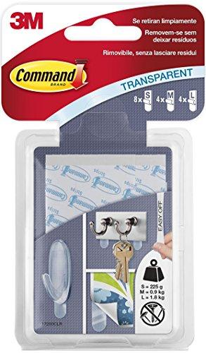 Command 17200CLR Pack de 16 Tiras, Transparente, 8xS + 4xM + 4xL, Set Piezas