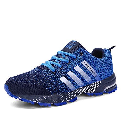 SOLLOMENSI Sportschuhe Herren Damen Laufschuh Retwin Turnschuhe Joggingschuhe Freizeitschuhe Sneakers Outdoor Schuhe Straßenlaufschuhe Traillaufschuhe 40 EU A1 Blau