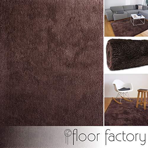 floor factory Tappeto moderno molto morbido Privilege marrone 140x200 cm - tappeto pelo lungo di...