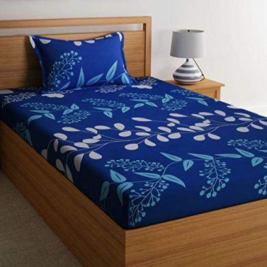 Home Ecstasy 100% Cotton Printed Bedsheet Set 3016 SGL (Blue,Single) 14