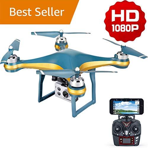 FPV Drone, 1080p HD Videocamera Live Video e GPS Return Home, Quadcopter, per Adulti Principianti con Motore Brushless, Seguimi, 5G WiFi Transmission, Altitude Hold, 500 m Long Control Range,Gold