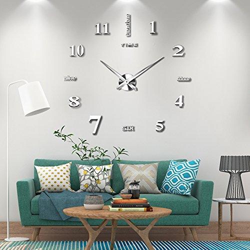 Vangold Adesivo da parete con orologio moderno senza cornice, in metallo, con specchio in acrilico,...