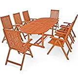 Deuba Sitzgruppe Moreno 8+1 FSC-zertifiziertes Eukalyptusholz klappbar 9-TLG Tisch Sitzgarnitur Holz Gartenmöbel