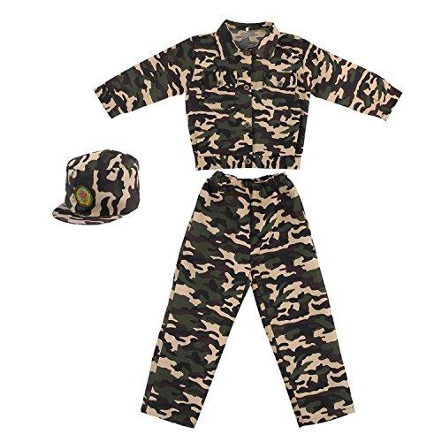 Discoball Niños Disfraz de soldado del ejército militar soldado Uniforme Fiesta camuflaje Outfit