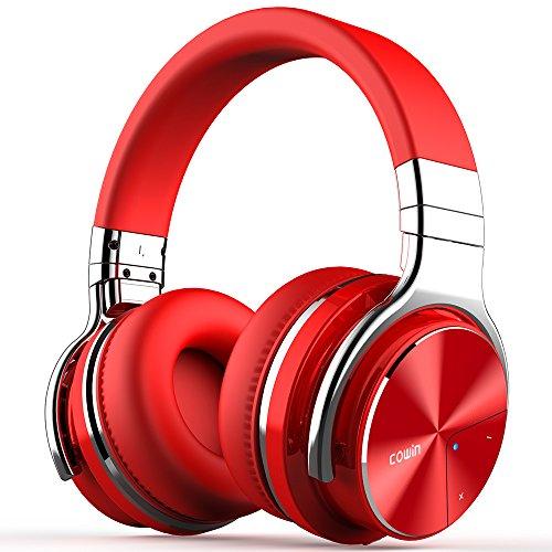 cowin E7 Pro Auriculares Inalámbricos Bluetooth con Micrófono Hi-Fi Deep Bass Auriculares Inalámbricos Sobre El Oído, (Hi-Res Audio, cancelación de Ruido, Bluetooth,30 Horas de autonomía) - Rojo