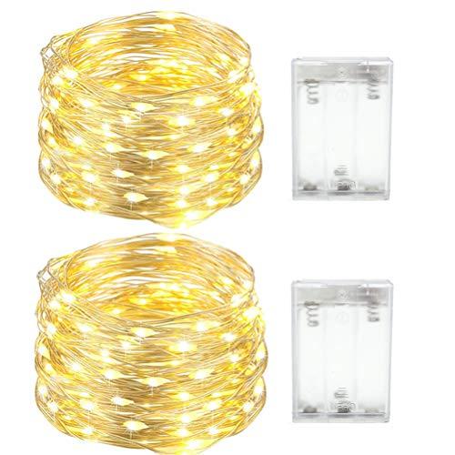 Stringa Luci LED Batteria, 2 x 4M 40 LEDs Catena Luminosa, Luci Natale Impermeabili per Natalizie Decorazioni Interni ed Esterni (Bianco Caldo)